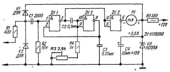 Запускающие импульсы с датчика поступают на вход ждущего мультивибратора, собранного на двух элементах D1.1 и D1.2.